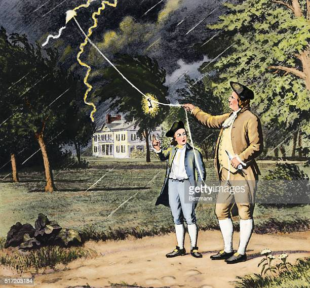 Benjamin Franklin's experiment with kite and key An undated painting from a wash drawing of Franklin and unidentified watching the glowing key after...