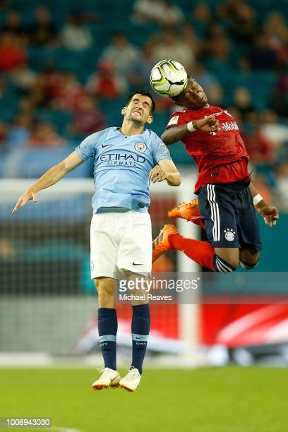 Benjamin Garre of Manchester City battles for a header against the Bayern Munich in the second half during the International Champions Cup at Hard...