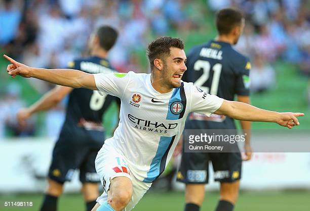 Benjamin Garuccio of City celebrates after scoring a goal during the round 20 ALeague match between Melbourne City FC and the Central Coast Mariners...