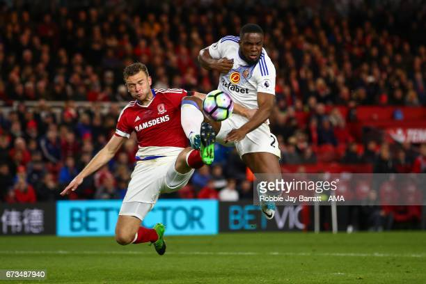 Benjamin Gibson of Middlesbrough and Victor Anichebe of Sunderland during the Premier League match between Middlesbrough and Sunderland at Riverside...