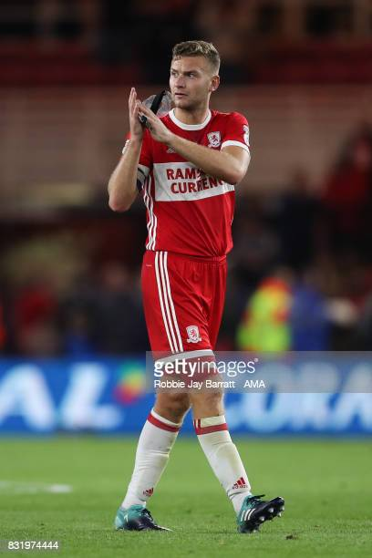 Benjamin Gibson of Middlesbrough applauds the fans at full time during the Sky Bet Championship match between Middlesbrough and Burton Albion at...