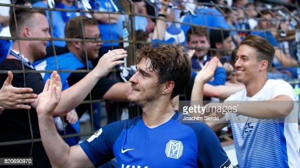Benjamin Girth and Patrick Posipal of Meppen after the 3 Liga match between SV Meppen and FC Wuerzburger Kickers at Haensch Arena on July 22 2017 in...