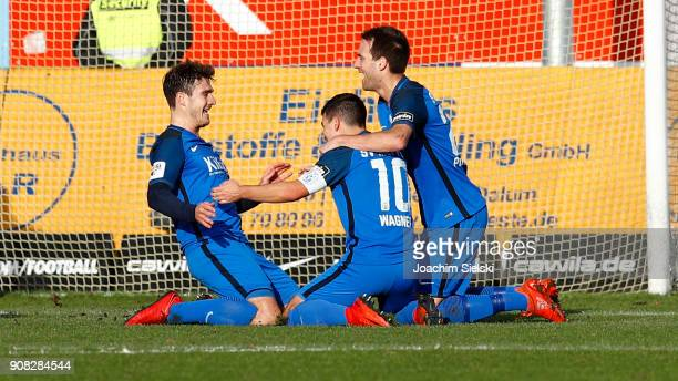 Benjamin Girth Martin Wagner and Steffen Puttkammer of Meppen celebrate after Wagner's opening goal during the 3 Liga match between SV Meppen and SC...