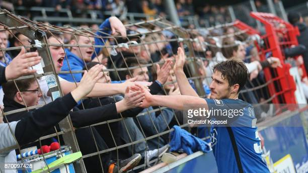 Benjamin Girth of Meppen celebrates after the 3 Liga match between SV Meppen and Chemnitzer FC at Haensch Arena on November 4 2017 in Meppen Germany...