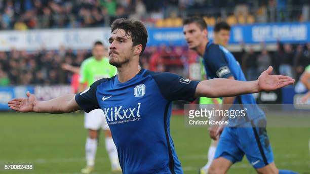 Benjamin Girth of Meppen celebrates the first goal during the 3 Liga match between SV Meppen and Chemnitzer FC at Haensch Arena on November 4 2017 in...
