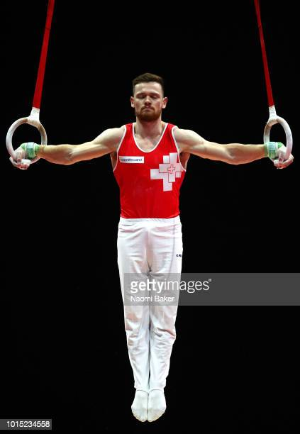 Benjamin Gischard of Switzerland competes in Rings in the Men's Team Gymnastics Final during the Gymnastics on Day Ten of the European Championships...