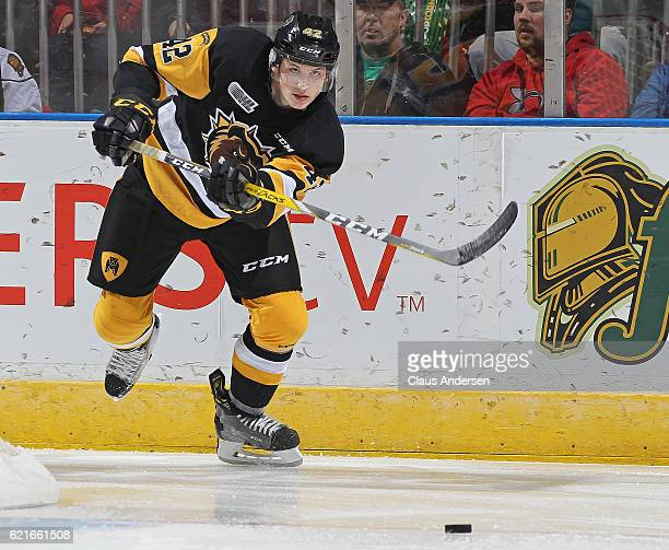 Benjamin Gleason of the Hamilton Bulldogs fires a pass against the London Knights during an OHL game at Budweiser Gardens on November 6 2016 in...