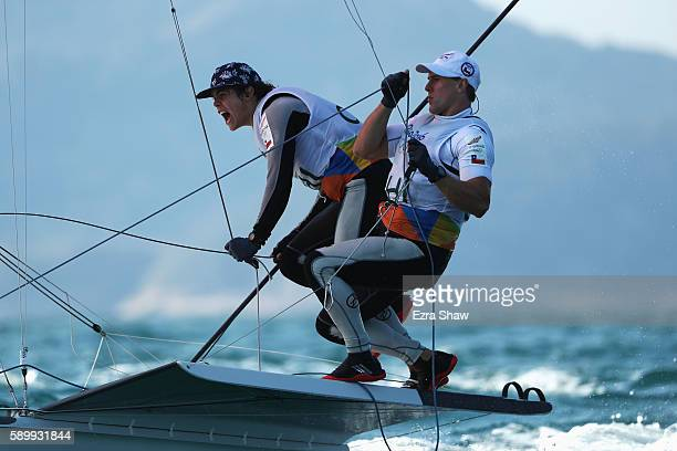 Benjamin Grez Ahrens of Chile and Cristobal Grez Ahrens of Chile compete in the Men's 49ers class on Day 10 of the Rio 2016 Olympic Games at the...