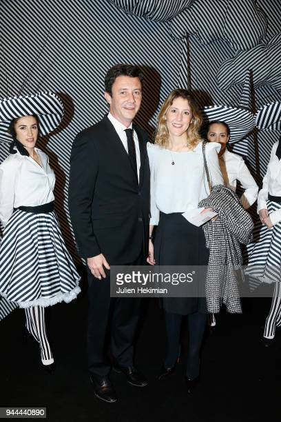 Benjamin Griveaux and his wife attend the Societe des Amis Du Musee d'Art Moderne du Centre Pompidou Charles Kaisin's Black And White dinner party at...