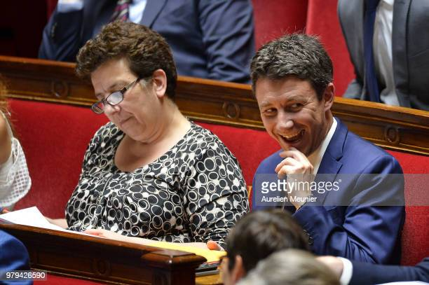 Benjamin Griveaux, French Minister of State attached to the Prime Minister, Government Spokesman reacts as ministers answer deputies during the...
