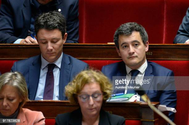 Benjamin Griveaux Minister attached to the Prime Minister Government Spokesman and French Minister of Public Action and Accounts Gerald Darmanin...