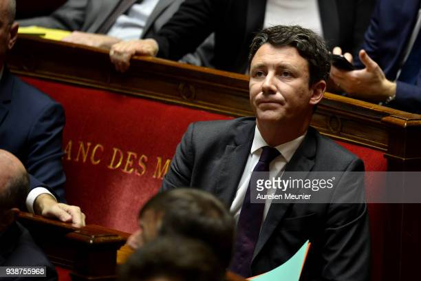 Benjamin Griveaux Secretary of State to the Prime Minister and Government Spokesman reacts as Ministers answer deputies during the weekly session of...