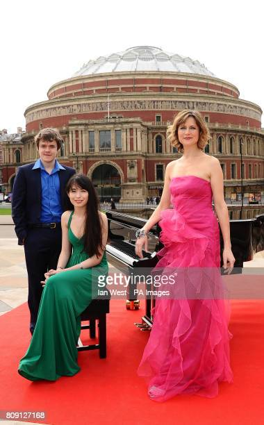 Benjamin Grosvenor Alice Sara Ott and Katie Derham help launch the BBC Proms 2011 on the Albert Memorial in London