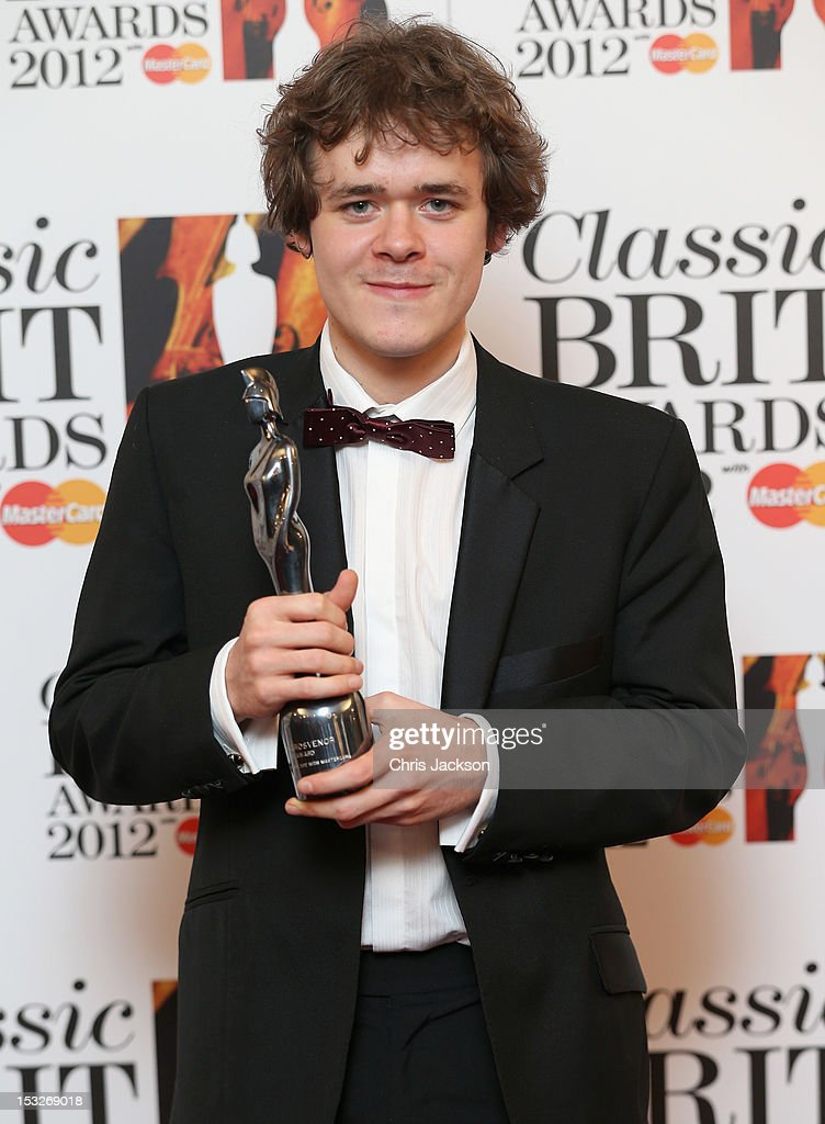 Benjamin Grosvenor holds up the 'Critic's Choice Award' as he attends the Classic BRIT Awards at the Royal Albert Hall on October 2, 2012 in London, England.