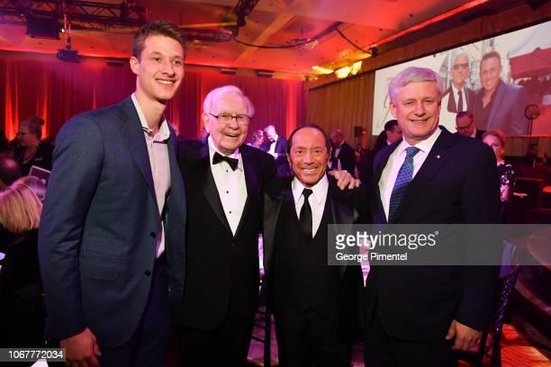 Benjamin Harper Warren Buffett Paul Anka and Ex Prime Minister of Canada Stephen Harper attend 2018 Canada's Walk Of Fame Awards held at Sony Centre...