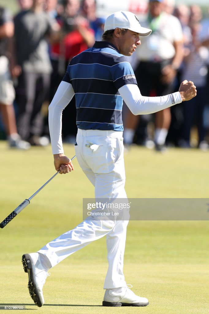 Benjamin Hebert of France celebrates holing a putt during day three of the Dubai Duty Free Irish Open at Portstewart Golf Club on July 8, 2017 in Londonderry, Northern Ireland.