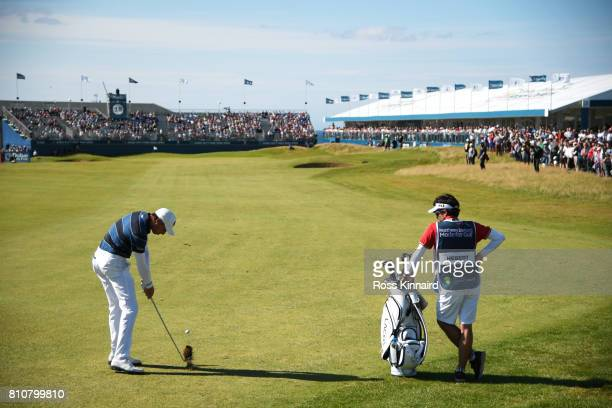 Benjamin Hebert of France hits his third shot on the 18th hole during day three of the Dubai Duty Free Irish Open at Portstewart Golf Club on July 8...