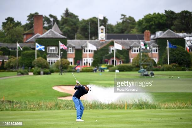 Benjamin Hebert of France plays their second shot on the 18th hole during Day two of the UK Championship at The Belfry on August 28, 2020 in Sutton...