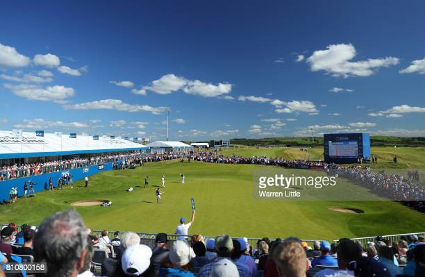 Benjamin Hebert of France putts on the 18th green during day three of the Dubai Duty Free Irish Open at Portstewart Golf Club on July 8 2017 in...