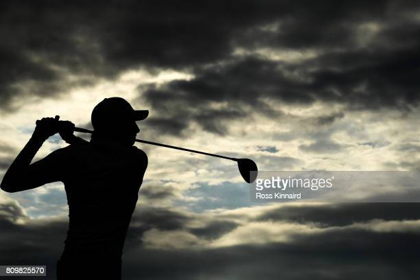 Benjamin Hebert of France tees off on the 18th hole during day one of the Dubai Duty Free Irish Open at Portstewart Golf Club on July 6 2017 in...
