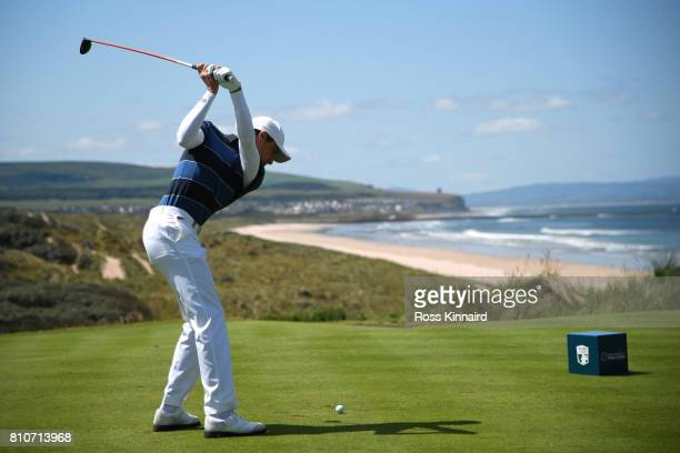Benjamin Hebert of France tees off on the 1st hole during day three of the Dubai Duty Free Irish Open at Portstewart Golf Club on July 8 2017 in...