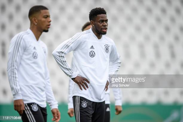 Benjamin Henrichs and Jordan Torunarigha during the U21 training session of Germany at Stadion Essen on March 20 2019 in Essen Germany