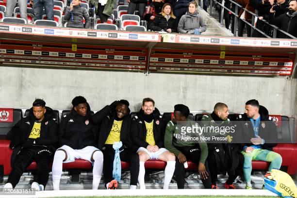 Benjamin HENRICHS Aurelien TCHOUAMENI Benoit BADIASHILE Adrien SILVA Keita BALDE Islam SLIMANI and Danijel SUBASIC of Monaco during the Ligue 1 match...