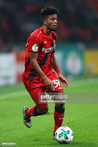 Benjamin Henrichs of Bayer 04 Leverkusen in action during the DFB Cup match between Bayer Leverkusen and 1 FC Union Berlin at BayArena on October 24...