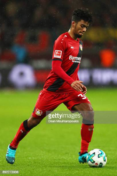Benjamin Henrichs of Bayer 04 Leverkusen in action during the Bundesliga match between Bayer 04 Leverkusen and SV Werder Bremen at BayArena on...