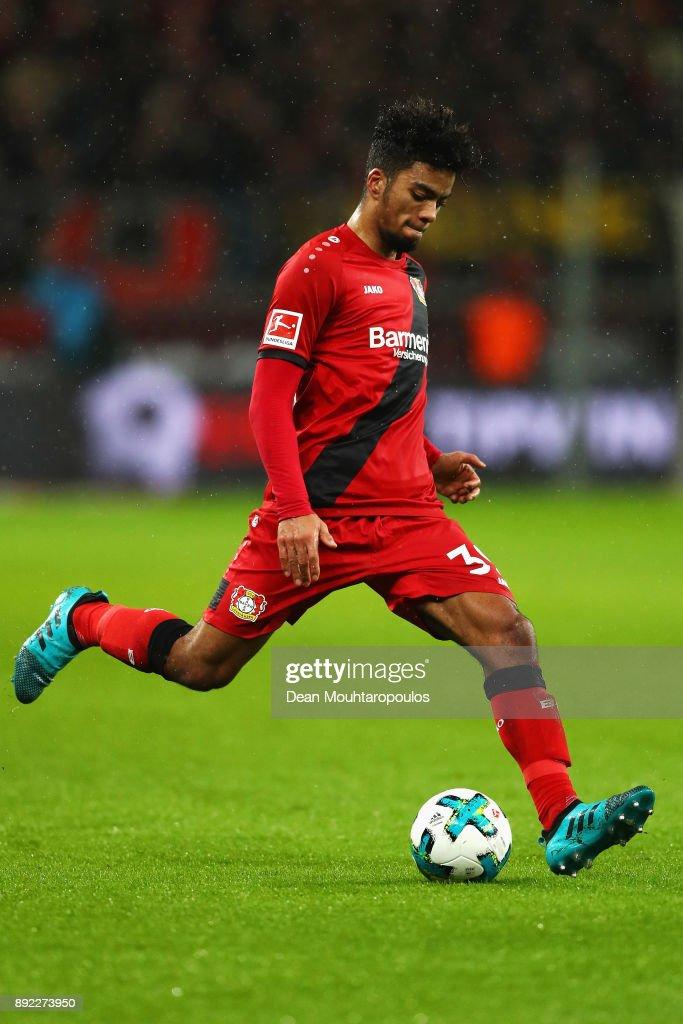 Benjamin Henrichs of Bayer 04 Leverkusen in action during the Bundesliga match between Bayer 04 Leverkusen and SV Werder Bremen at BayArena on December 13, 2017 in Leverkusen, Germany.