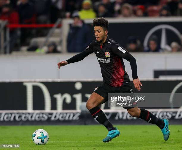 Benjamin Henrichs of Bayer Leverkusen controls the ball during the Bundesliga match between VfB Stuttgart and Bayer 04 Leverkusen at MercedesBenz...