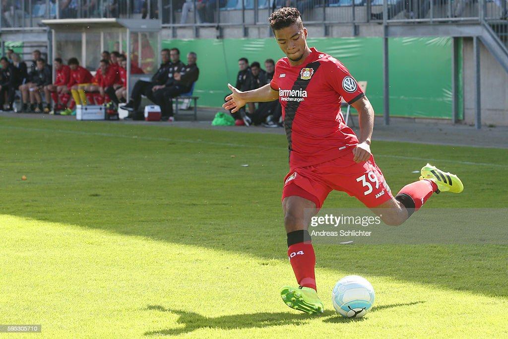 Benjamin Henrichs of Bayer Leverkusenn during the DFB Cup match between SC Hauenstein and Bayer 04 Leverkusen at Stadium Husterhoehe on August 19, 2016 in Pirmasens, Germany.