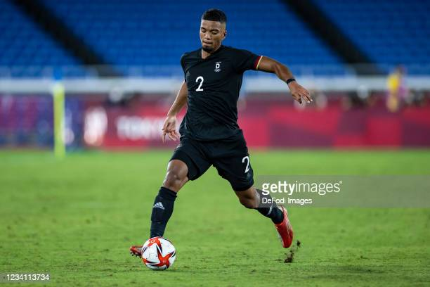 Benjamin Henrichs of Germany controls the ball in the Men's First Round Group D match between Brazil and Germany during the Tokyo 2020 Olympic Games...