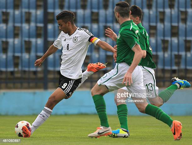 Benjamin Henrichs of Germany in action against Stephen Best of Ireland during the UEFA Under17 Elite Round between Germany and Ireland at Stadion FC...