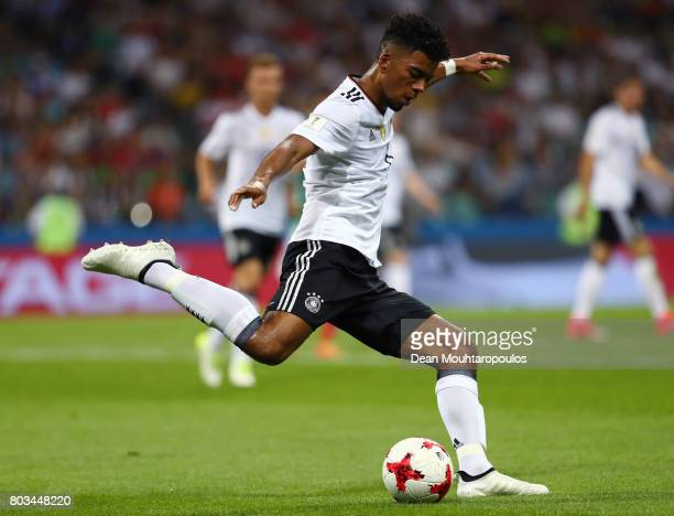 Benjamin Henrichs of Germany lines up a shot during the FIFA Confederations Cup Russia 2017 SemiFinal between Germany and Mexico at Fisht Olympic...