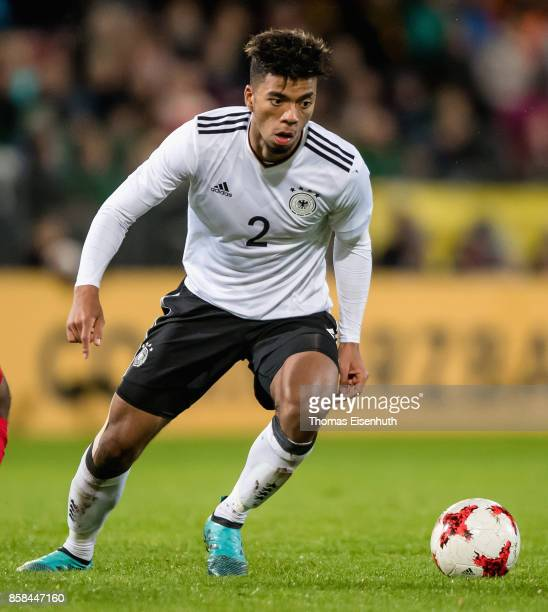 Benjamin Henrichs of Germany plays the ball during the UEFA Under21 Euro 2019 Qualifier match between U21 of Germany and U21 of Azerbaijan at Stadion...
