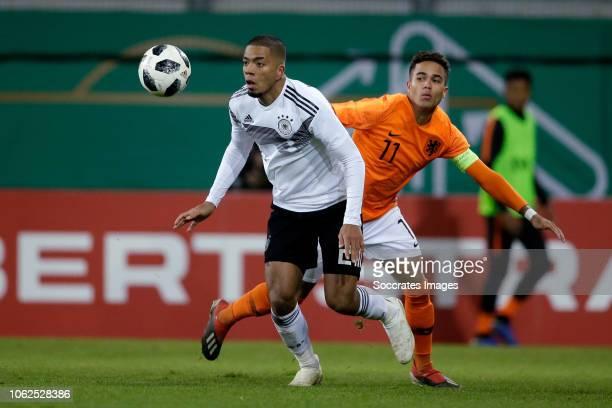 Benjamin Henrichs of Germany U21 Justin Kluivert of Holland U21 during the match between Germany U21 v Holland U21 at the Sparda Bank Hessen Stadion...
