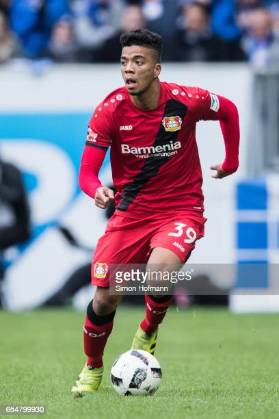 Benjamin Henrichs of Leverkusen controls the ball during the Bundesliga match between TSG 1899 Hoffenheim and Bayer 04 Leverkusen at Wirsol...