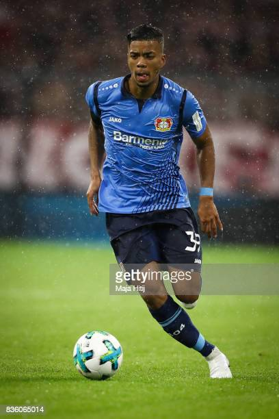 Benjamin Henrichs of Leverkusen controls the ball during the Bundesliga match between FC Bayern Muenchen and Bayer 04 Leverkusen at Allianz Arena on...