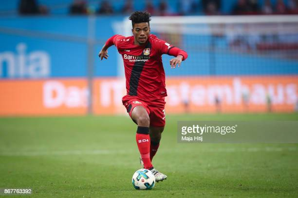 Benjamin Henrichs of Leverkusen controls the ball during the Bundesliga match between Bayer 04 Leverkusen and 1 FC Koeln at BayArena on October 28...