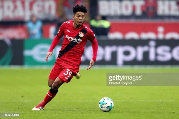 Benjamin Henrichs of Leverkusen runs with the ball during the Bundesliga match between Bayer 04 Leverkusen and Hertha BSC at BayArena on February 10...