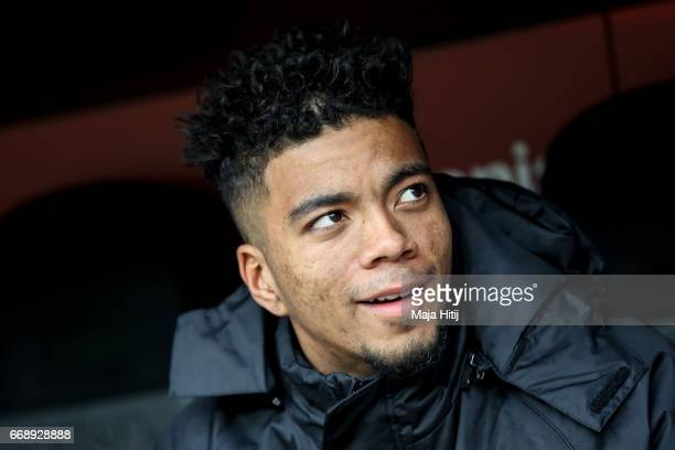 Benjamin Henrichs of Leverkusen sits on the bench prior the Bundesliga match between Bayer 04 Leverkusen and Bayern Muenchen at BayArena on April 15...