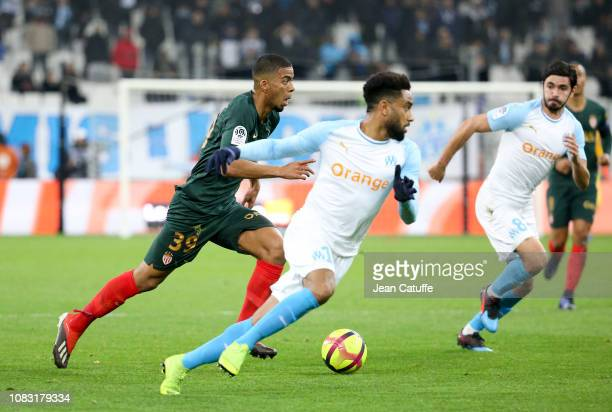 Benjamin Henrichs of Monaco Jordan Amavi of Marseille during the french Ligue 1 match between Olympique de Marseille and AS Monaco at Stade Velodrome...
