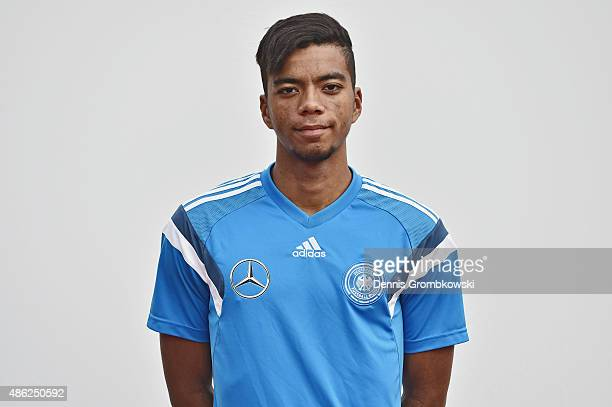 Benjamin Henrichs poses during the Germany Under 19 Team Presentation on September 2 2015 in Bergisch Gladbach Germany