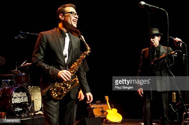 Benjamin Herman and Jules Deelder of the New Cool Collective perform on stage at Diligentia Den Haag Netherlands 4th February 2011