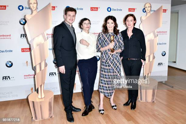 Benjamin Herrmann Meret Becker Iris Berben and Anne Leppin during the nominees announcement for the Lola German film award at on March 14 2018 in...