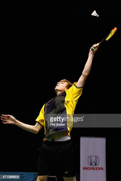 Benjamin Hillier of New Zealand plays a forehand during his qualifiaction match against Sean Soo of New Zealand during the 2015 Badminton Open at...