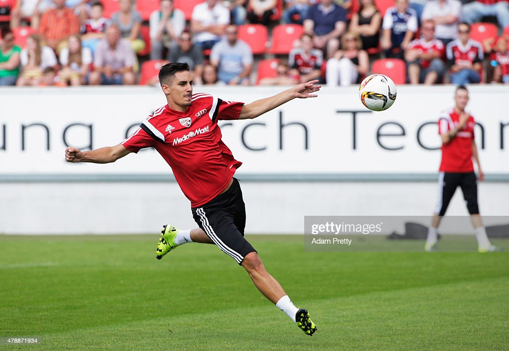 Benjamin Huebner of FC Ingolstadt in action during first day of training at Audi Sportpark on June 28, 2015 in Ingolstadt, Germany.