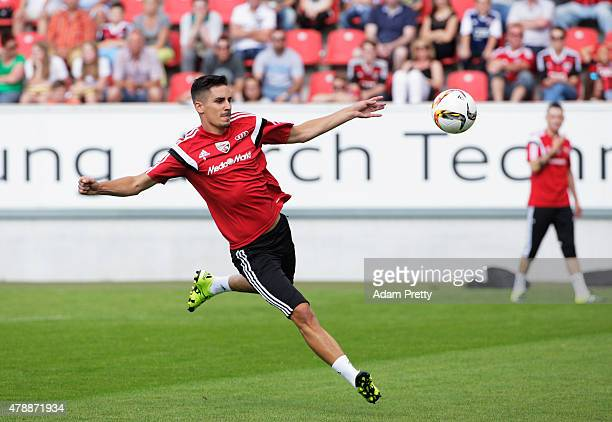 Benjamin Huebner of FC Ingolstadt in action during first day of training at Audi Sportpark on June 28 2015 in Ingolstadt Germany