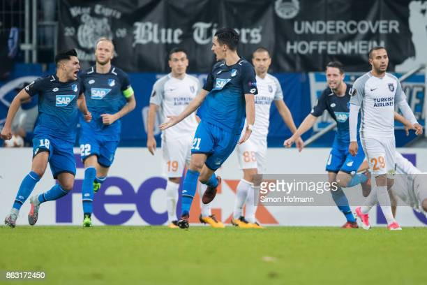 Benjamin Huebner of Hoffenheim celebrates his team's first goal goal during the UEFA Europa League group C match between 1899 Hoffenheim and Istanbul...